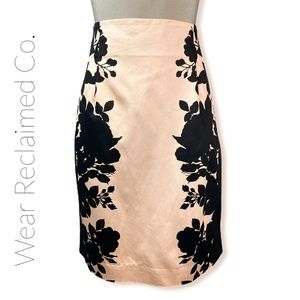 WORTHINGTON Black & Blush Pencil Midi Skirt